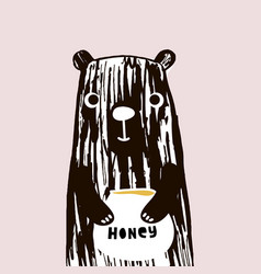 cute bear with honey hand drawn with vector image vector image