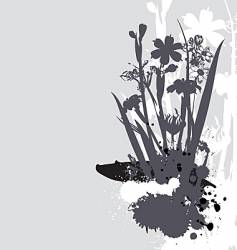 flowers and ink drips monotone vector image vector image