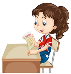 Girl reading document on the desk vector image vector image