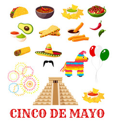 Mexican cinco de mayo fiesta party food icon vector