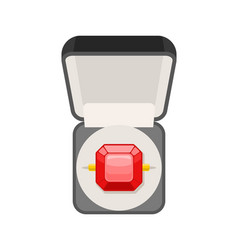 ring with ruby in box top view jewel isolated vector image vector image