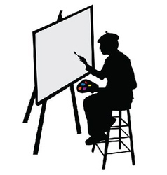 Artist with easel vector image vector image