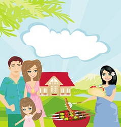 Family having barbecue in the garden vector image
