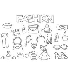 fashion elements hand drawn set vector image