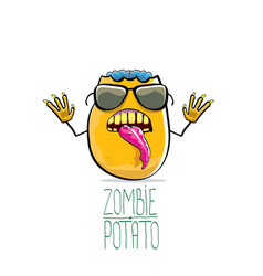 funny cartoon cute orange zombie potato vector image vector image