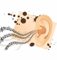 grunge human ear vector image vector image