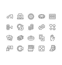 Line Gambling Icons vector image