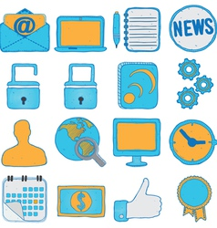 Set of hand drawn social media and business icons vector image