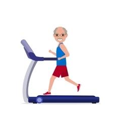 Cartoon grandfather running on treadmill vector