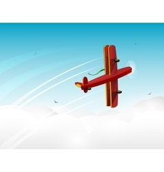 Cartoon red plane banner in the sky vector image vector image