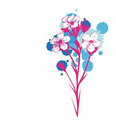 flowers with ink drop colours vector image vector image