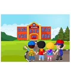 Little kids are going to school vector