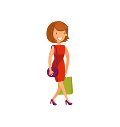 young elegant woman in red dress walking with vector image