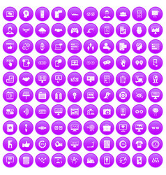100 interface icons set purple vector