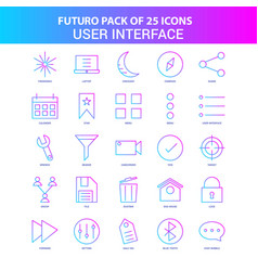 25 blue and pink futuro user interface icon pack vector