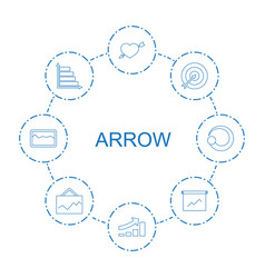 8 arrow icons vector