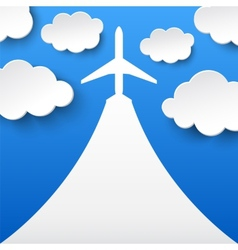 Abstract background with airplane and clouds vector image