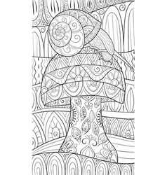 adult coloring bookpage a cute snail on the vector image