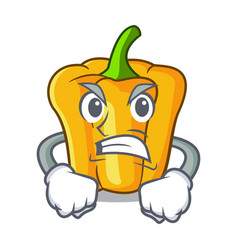 Angry sweet yellow pepper in the kitchen cartoon vector