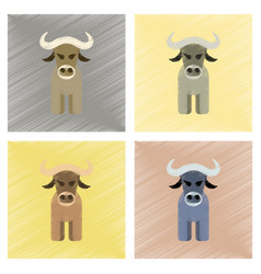 assembly flat shading style icons cartoon bull vector image