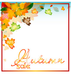 Autumn sale background with orange leaves vector