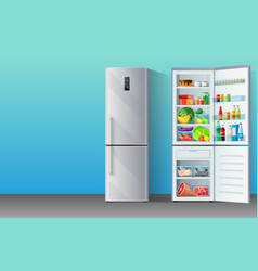 Banner with modern grey chromium-plated fridge vector