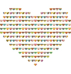 Big bright heart made of small ones vector