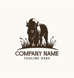 Bison logo farm design vector