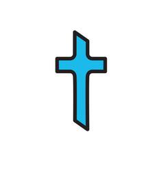 Blue christian cross icon in flat design vector