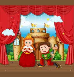 Boy and girl acting on stage - prince and princess vector