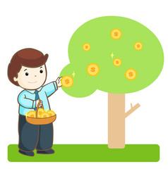 Businessman harvest money tree vector