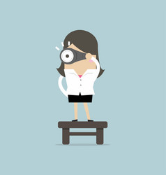 Businesswoman with binoculars vision concept vector