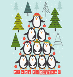 card with christmas tree of penguins vector image