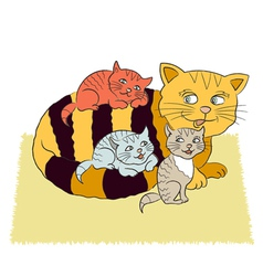 Cat and three kittens vector