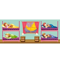 Children sleeping in bunkbed vector