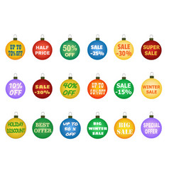 Christmas balls with promotional offers vector