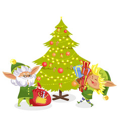 christmas elf with present near fir-tree vector image