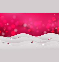 christmas landscape tree and snow on red bokeh vector image
