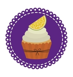 Circular border with cupcake with cream and lemon vector