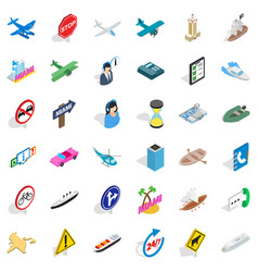 City traffic icons set isometric style vector