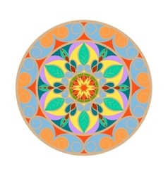 Color Flower mandala over white vector image