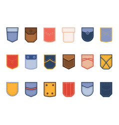 color patch pocket cloth bright different shapes vector image