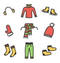 Colorful doodle winter clothes set vector image