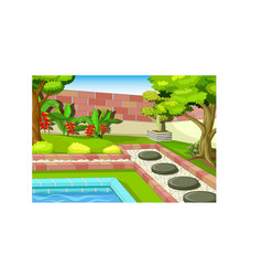 Cool back yard park with swimming pool cartoon vector