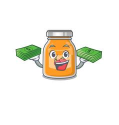 Cool rich apple jam character having money vector