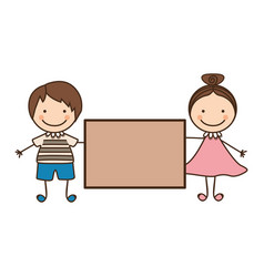 couple boy and girl with card vector image