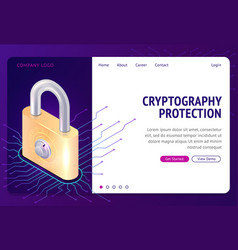 Cryptography protection web isometric concept vector