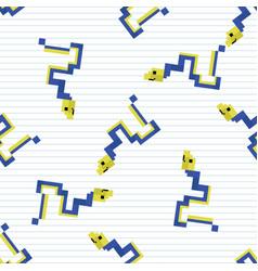 Cute cartoon 8bit ribbon eel seamless vector