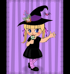 Cute little cute naughty baby girl in witch dress vector