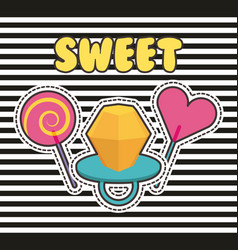 cute patches badge ring candy lollipop stripes vector image